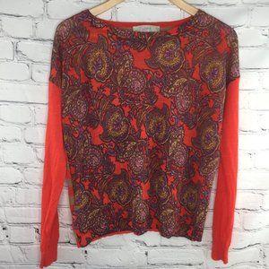 Loft sweater, red/purple/tan paisley long sleeve